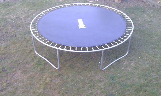 trampoline frame with mat connected