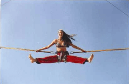 girl on bungee trampoline