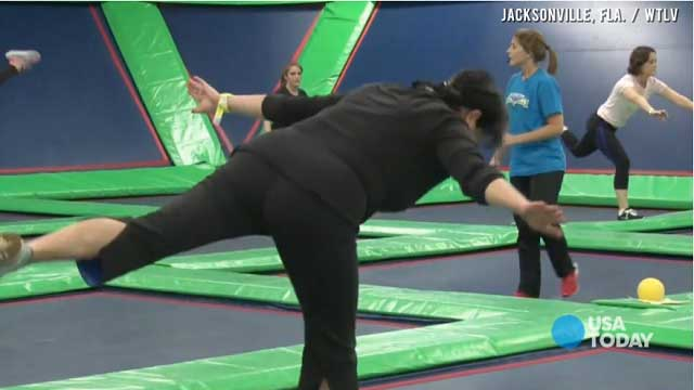 burn calories by jumping on trampoline