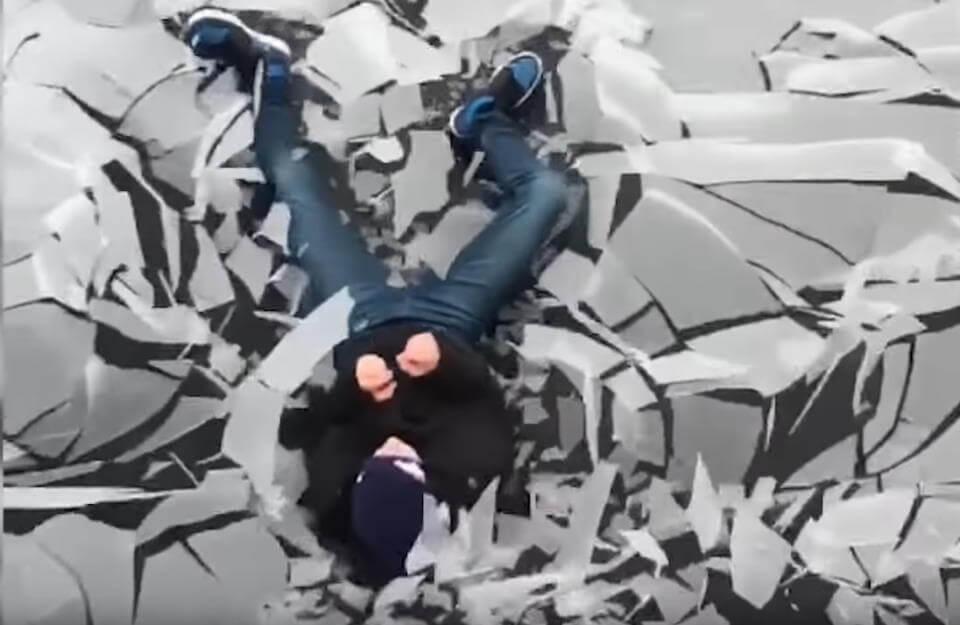guy jump on frozen trampoline - video