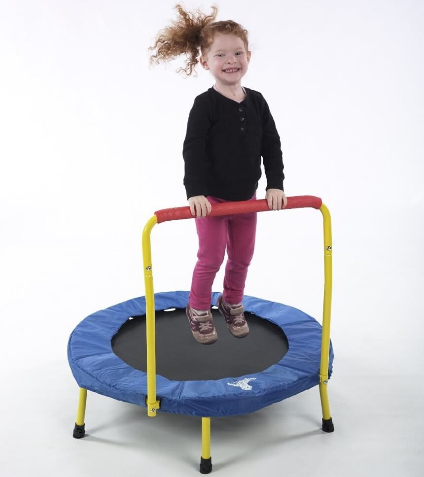 Fold n Go mini trampoline for 4 year olds