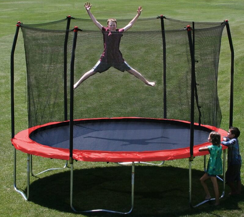 circular skywalker trampoline with red padding