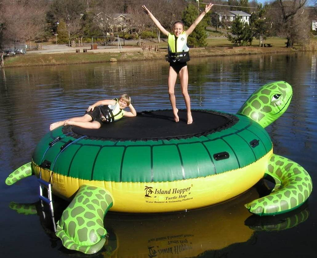 Turtle shaped water trampoline