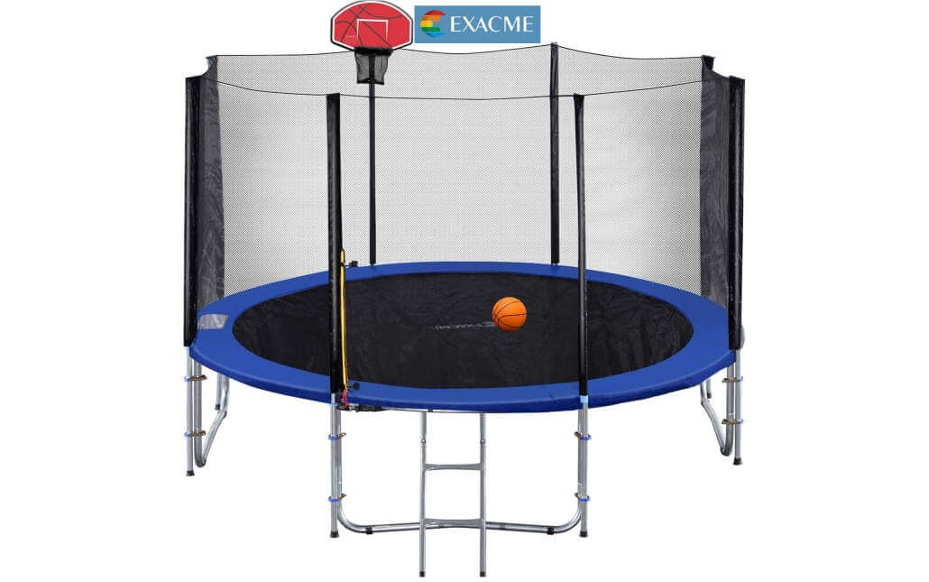 Exacme 14 ft best buy trampoline with included basketball hoop and ladder