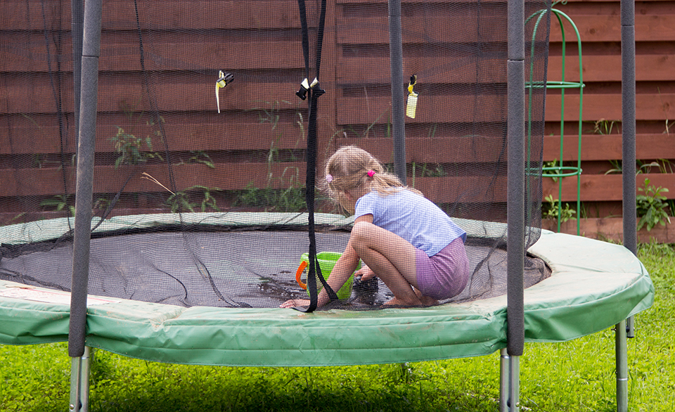cleaning a trampoline