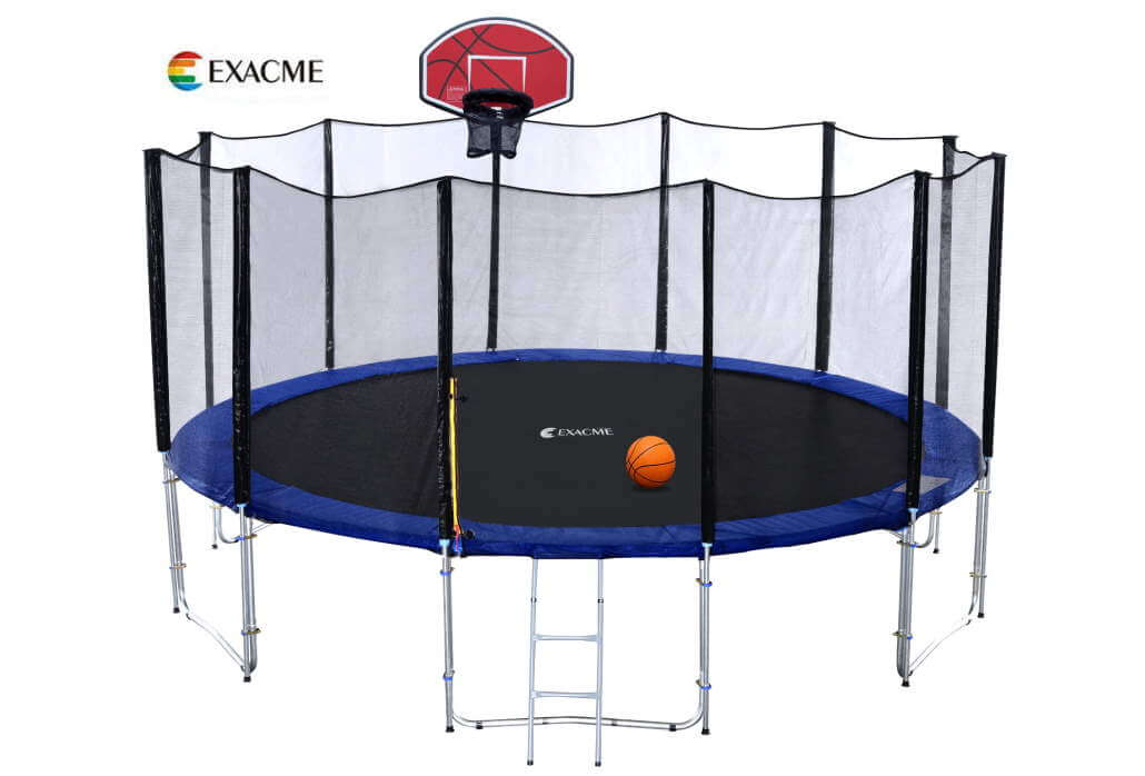 Exacme 16 ft trampoline, T-series, with basketball hoop