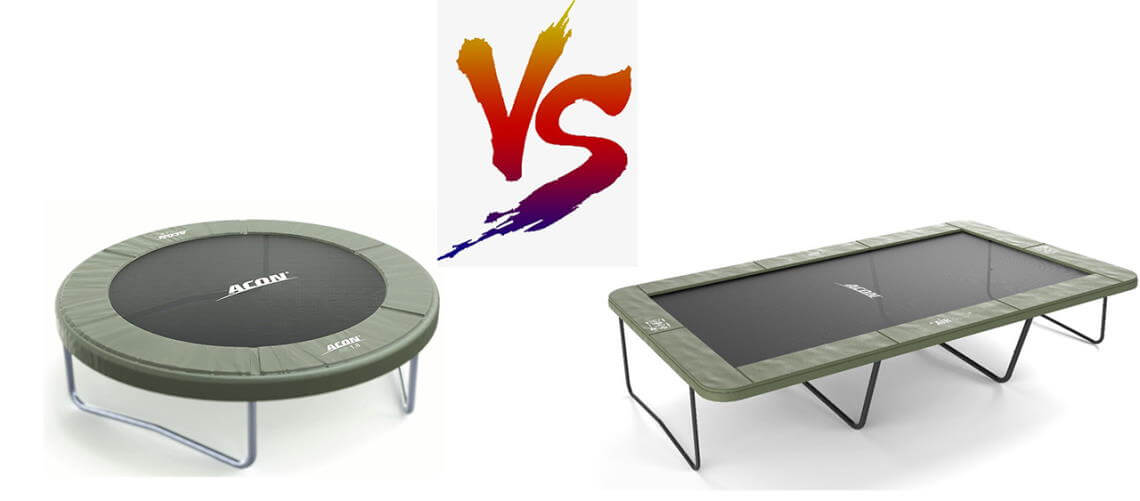 Rectangle trampoline vs round trampoline - the duel - featured image