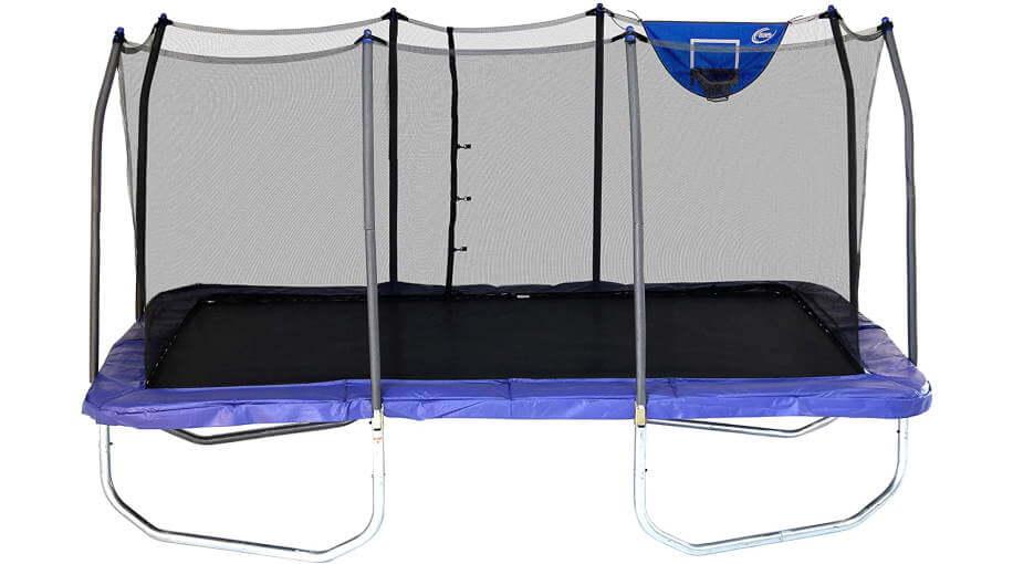 Skywalker rectangular trampoline - blue with basketball hoop, size 9x15 foot